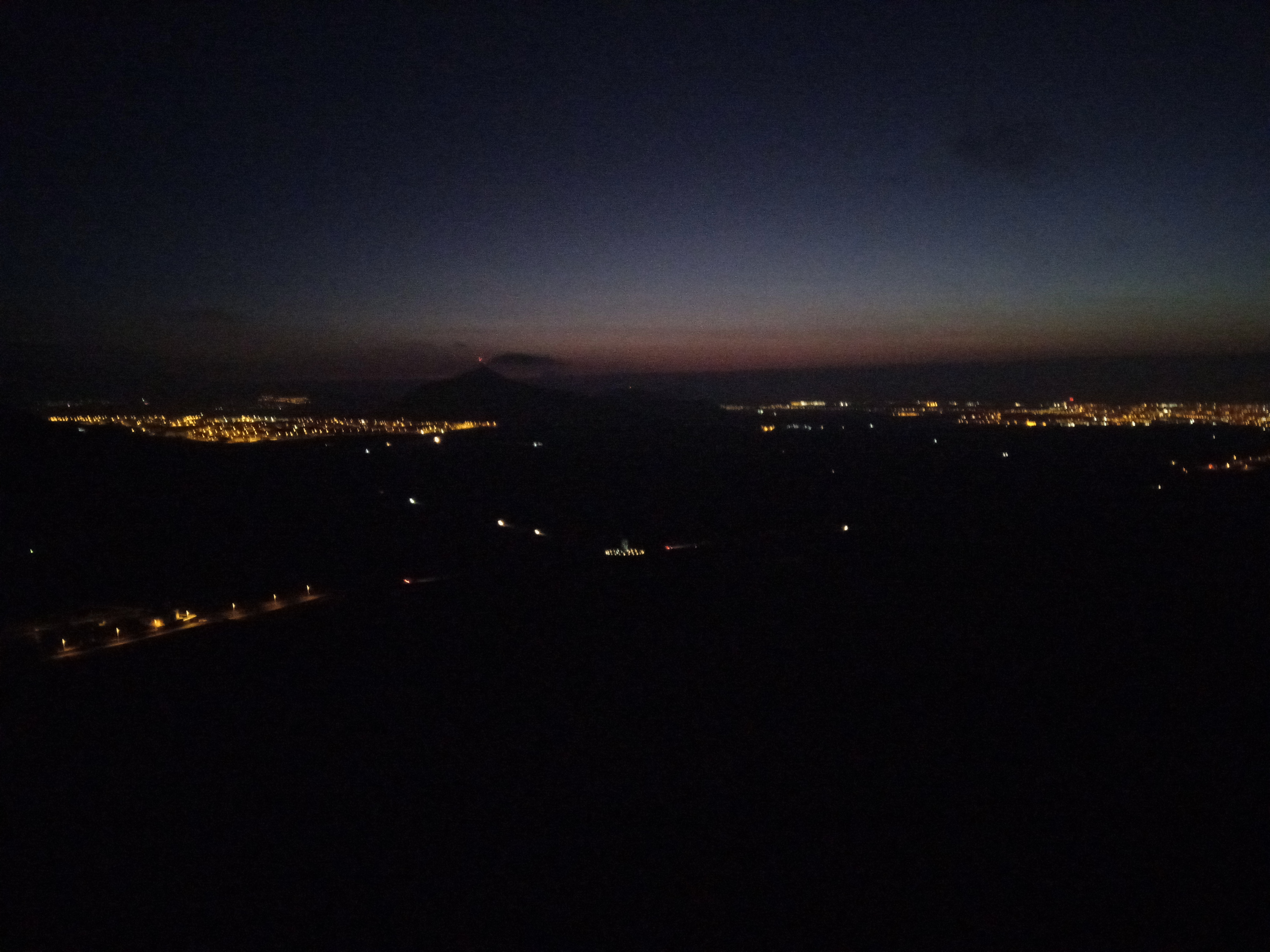 View of Arrecife from Montaña Blanca before sunrise